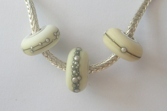 OOAK Trio of Ivory and Pure Silver Handmade Lampwork European Charm Beads - SRA - Fits Troll/Biagi etc