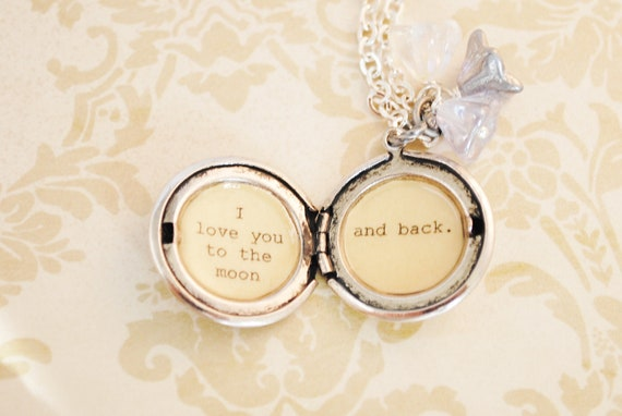 I love you to the moon and back - Girl's Locket - in antique silver