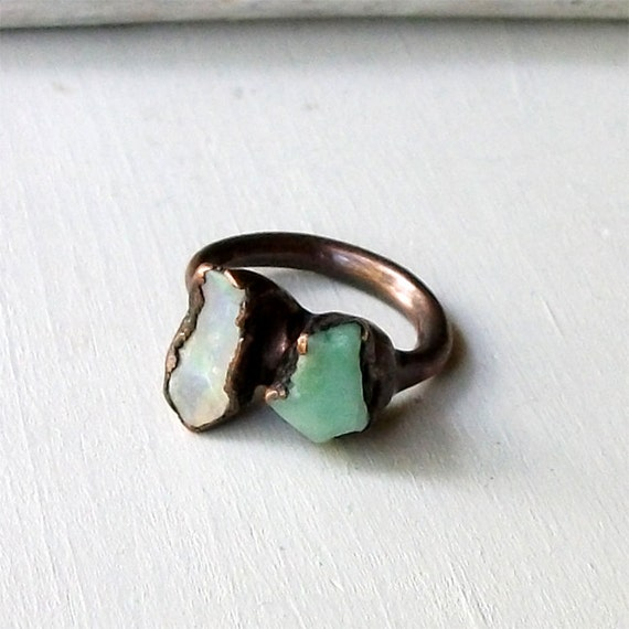 Copper Chrysoprase Opal Ring Unique Emerald Pale Caribbean Green Handmade Organic Raw Modern