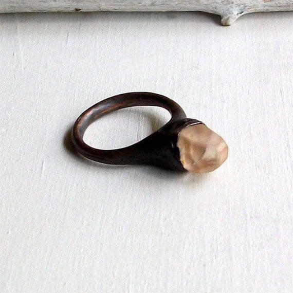 Topaz Copper Ring Nude Blush Peach Rough Stone Mineral Gemstone Crystal Organic Artisan Handmade