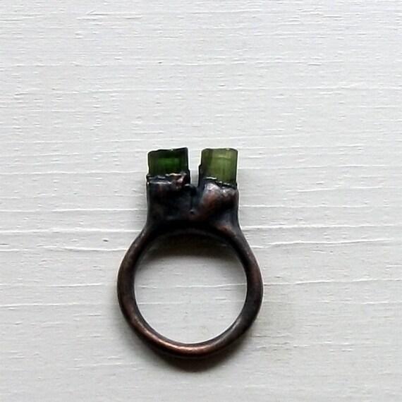 Tourmaline Ring October Birthstone Ring Gemstone Ring Copper Ring Deep Forest Leaf Green Mineral Stone Gemstone Artisan Handmade