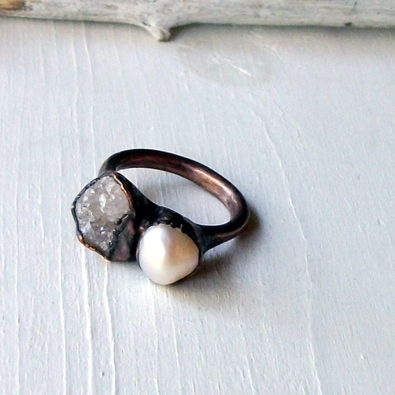 Druzy Pearl Copper Ring Pink Grey Raw Gem Stone Crystal Artisan Handmade