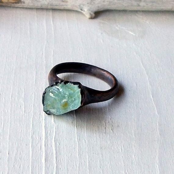 Copper Beryl Ring Crystal Spring Blue Sea Green Raw Artisan Handmade