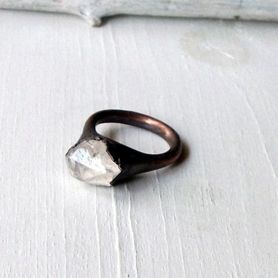 Cocktail Ring Quartz Ring Crystal Ring Gemetone Ring Mineral Ring Natural Patina Artisan Handmade