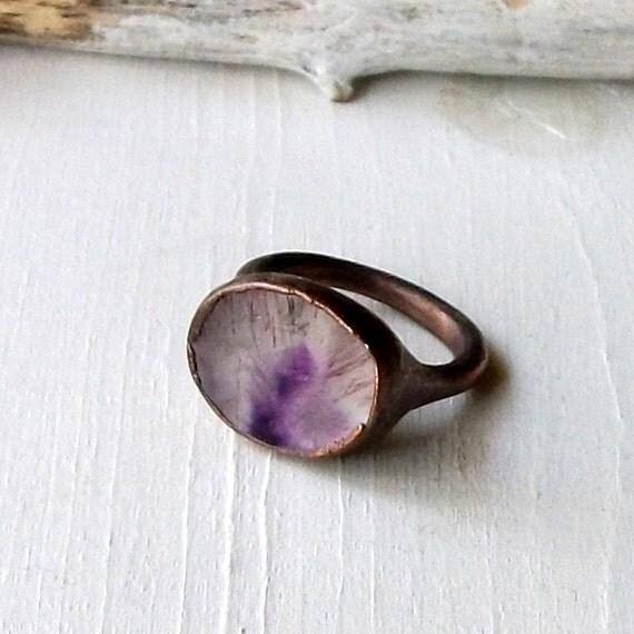Copper Ring Quartz Amethyst Hematite Violet Plum Purple Gem February Birthstone Artisan Handmade