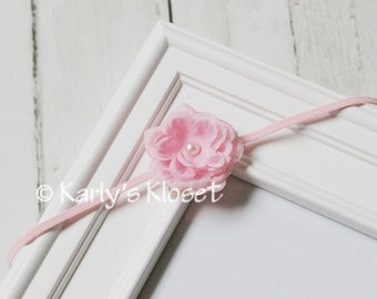 Light Pink Baby Rose Bloom Silk Flower Skinny Elastic Headband with Pearl Center - Newborn Baby Girl Photography Photo Prop