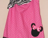 Disney Minnie Mouse Inspired Baby Toddler Dress - Ruffled One Shoulder Dress - Zebra Pink Polka Dots -Great for Disney Trips and Birthdays