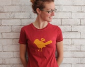 Mechanical Bird ladies Tshirt, Wind up Bird cotton crew neck tee shirt, Scarlet Red