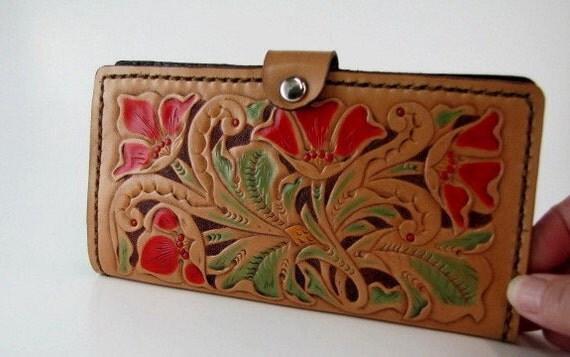 Leather Wallet Ladies Red Floral