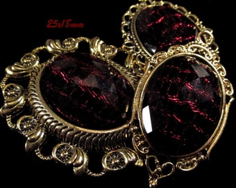 25x18mm - Black/Red Fashion Cabochon - 3 pcs : sku 11.24.12.22 - E22