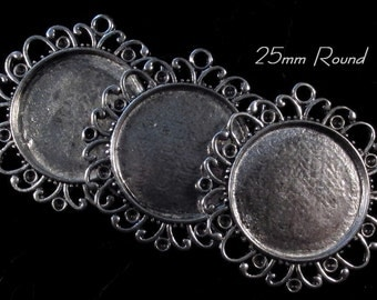 25mm Round - Antique Silver - Alloy Setting - 'Sunny I' - 3 pcs : sku 11.28.12.1 - T10