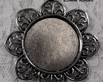 25mm Round - Antique Silver - Alloy Setting - 'Sunny II' - 1 pc : sku 11.28.12.4 - T13