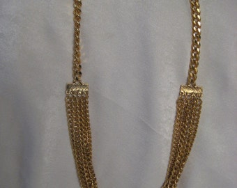 Vintage Necklace Simple Chunky Bulky Gold Tone Multi Chain Link Necklace