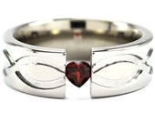 New 7 mm Titanium Tension Set Band Infinity Symbol with a Heart Gemstone and Infinity Design: 7FP-T1-Infinity-Hrt Tens-u.pic or Ruby