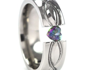6 mm Titanium Tension Setting with a Heart Gemstone and Infinity Design: 6HRP-infinity-t8-hrt tens-u.pic