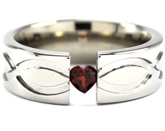 Titanium Ring Tension Setting 7mm with a Heart Gemstone and Infininity Design