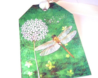 Dragonfly Tags - Set Of 6 - Green Dragonfly - Summer Tags - Flower Tags - Nature Tags -  Garden Tags - Insect Tags - Thank Yous - Gift tags