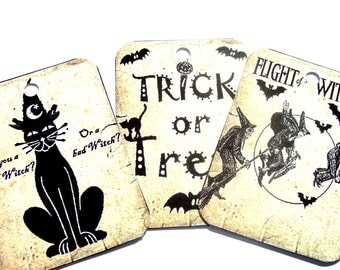 Halloween Gift Tags - Set Of 8 - Black And White - Whimsical Tags - Holiday Tags - Vintage Look - Witch Tags - Black Cat Tag - Thank You Tag
