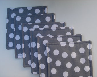 Fabric Coasters, Gray and White Dots, Reversible, Set of Six