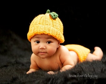 PDF PATTERN for Crocheted Halloween Pumpkin Hat and Diaper Cover set   Instructions for newborn to 12 months  Sell what you make