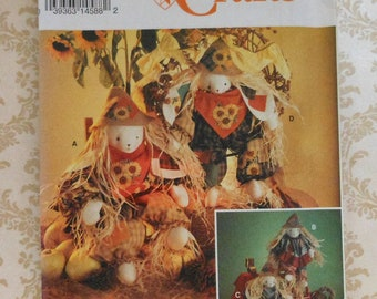 "21"" and 24"" Scarecrow Bunny Dolls Sewing Pattern Uncut Simplicity 8649 Halloween Thanksgiving Rabbit Decor"