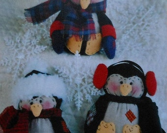 Holiday Penguins Sewing Pattern UNCUT Christmas winter penguin doll