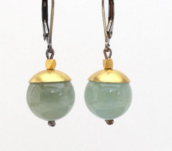 Aquamarine Orb 22k Gold Sterling Earrings