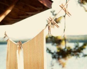 New England photo Clothesline photograph After a late summer swim  maine cottage shabby chic warm sunshine  home decor