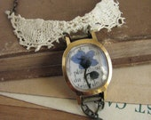 Forget-Me-Not Flower Necklace - romantic pressed flower and repurposed watch case necklace-