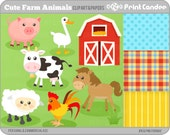 Cute Farm Animals - Digital Clip Art - Personal and Commercial Use - barnyard animals cow barn rooster horse pig