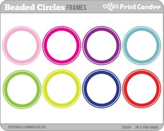 Beaded Circle Frames - Personal and Commercial Use - digital clipart frames clip art cute modern