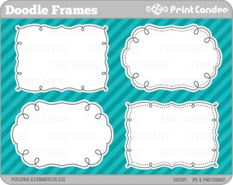 Doodle Frames - Personal and Commercial Use - digital clipart frames clip art cute modern