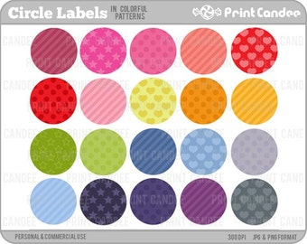 Circle Labels in Colorful Patterns (Set of 20) - Personal and Commercial Use - digital clipart clip art cute modern label