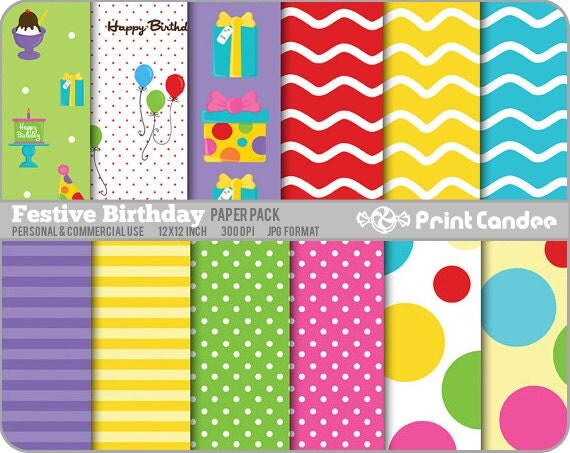Festive Birthday Paper Pack (12 Sheets) - Personal and Commercial Use - pink purple yellow retro mod waves dots fun