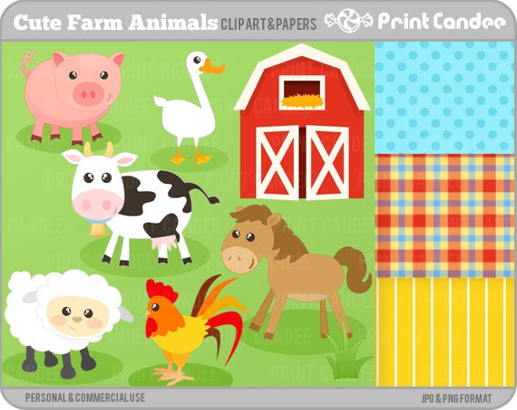 Cute Farm Animals Digital Clip Art Personal and Commercial