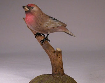 Common Redpoll Hand Carved Wooden Songbird