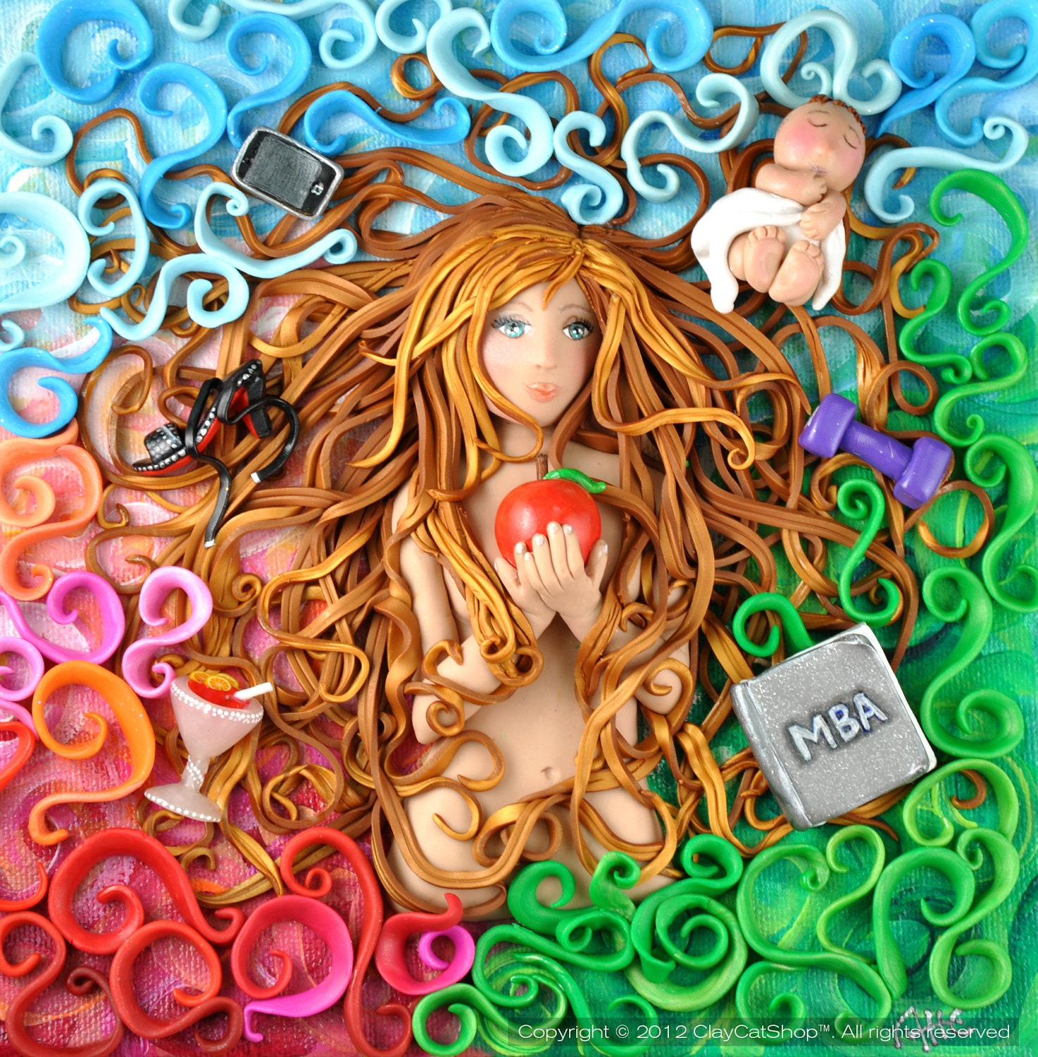 Items similar to eve 39 s duality original ooak polymer clay for Clay mural tutorial