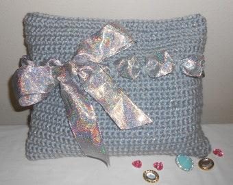 Crochet Handbag - crochet, purse, handbag, bag, tote, tote bag, silver, special occasion, evening bag