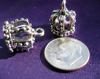 Crown Charm 2 pieces Tibetan Silver Jewelry Supply ships from USA