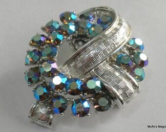 Blue Aurora Borealis Rhinestone Brooch Silver Tone Metal Ribbon Textured