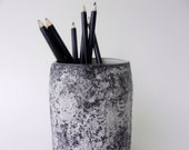 Black and White Pencil Holder / Black office decor / Handcrafted pen Cup / stone cup
