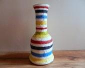 Colorful Vase / striped vase / large painted vase