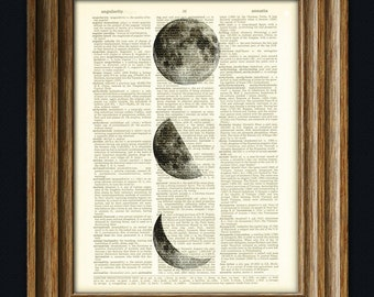 Moon Phases altered art dictionary page illustration book print