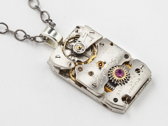 Steampunk Necklace vintage silver Elgin watch movement purple amethyst crystal mens pendant unisex Steampunk jewelry Steampunk Nation 1822