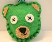 Green Bear felt keychain