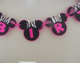 Zebra Minnie Mouse Inspired Banner Minnie Zebra Happy Birthday Name Banner Minnie Mouse Pink Zebra Minnie Birthday Party Banner Sign