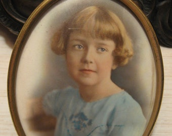 Antique Hand Colored PORTRAIT Lovely Girl Child Brass Frame Convex Glass Miniature c1900