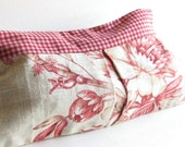 Floral Linen Clutch - Red Gingham Plaid - Womens Clutch