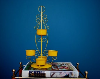 Vintage Yellow Metal Candle Holder
