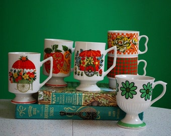 Vintage Collection of 6 Floral Coffee Mugs